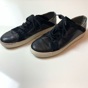 Vince Black Leather & Snakeskin Sneakers